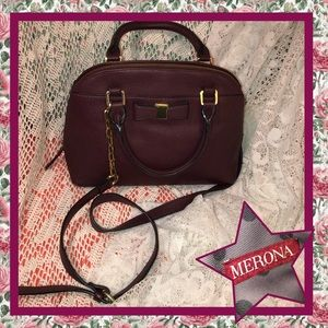 Merona Burgundy Satchel Bag USED CONDITION